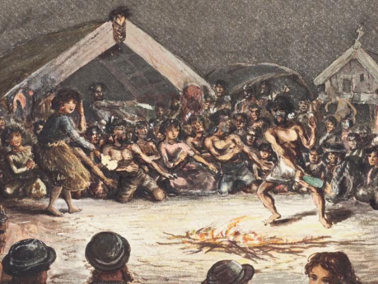 Illustration of Māori gathering around a fire watching a Haka performance