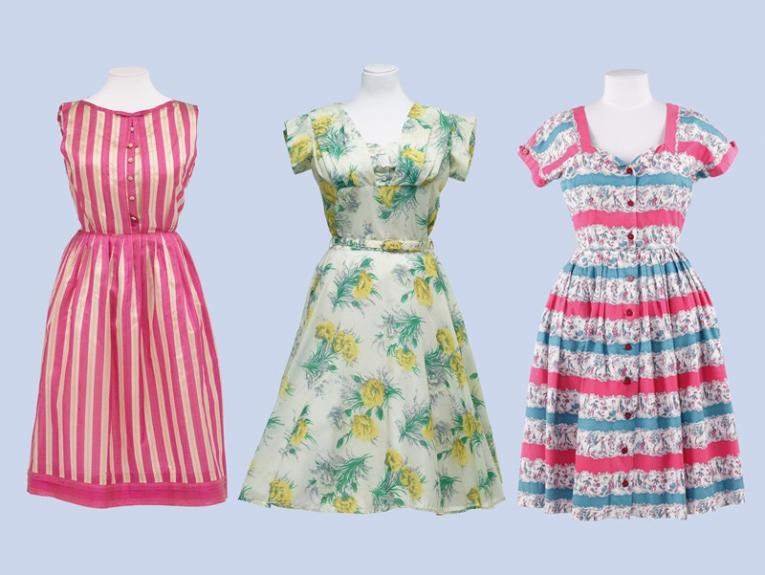 Brightly  patterned 1950s frocks