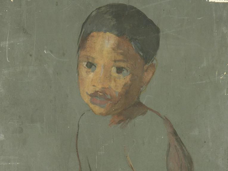 Unfinished painting of a young boy on the back of a canvas