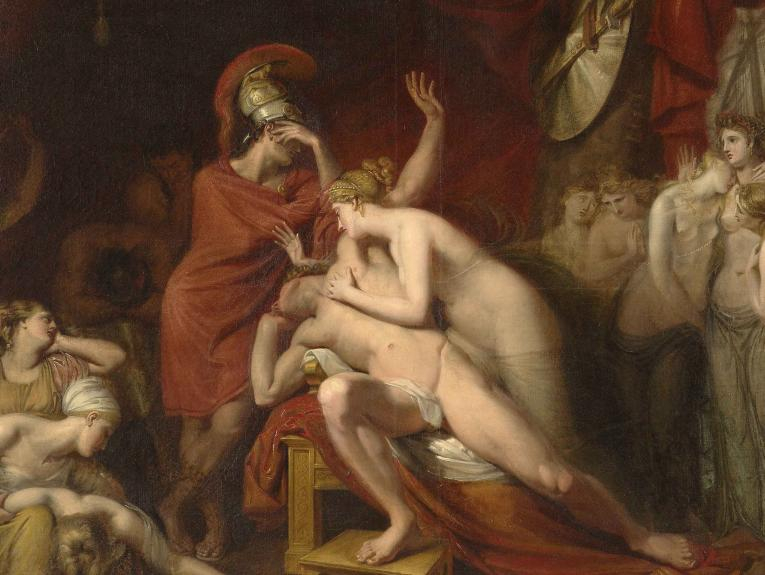 Painting of Achilles frantic for the loss of Patroclus, rejecting the consolation of Thetis