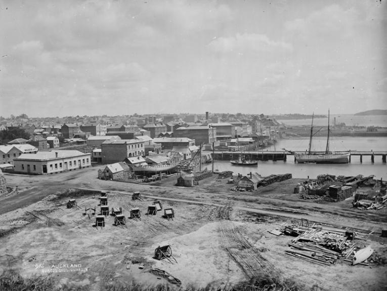 Black and white photo of a harbour