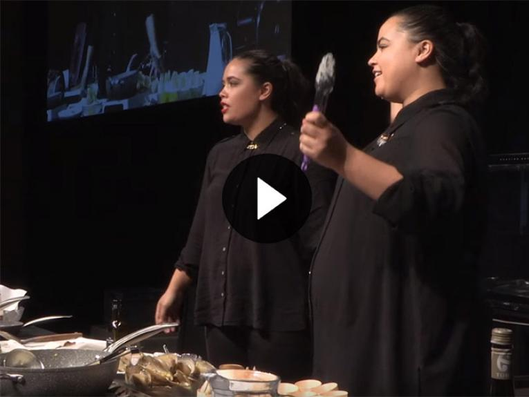 The Bird Sisters cooking at Te Papa