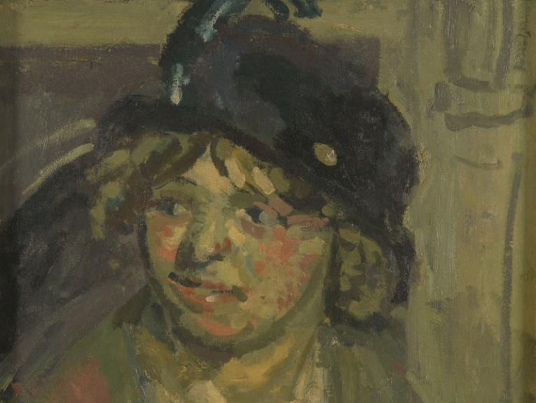 Oil painting of lady wearing a hat