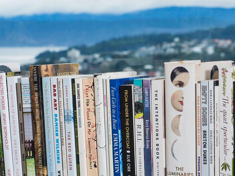Book shelf with Wellington in the background