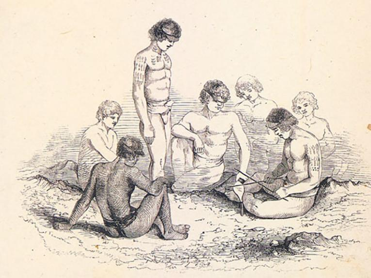 Illustration of a group of men preparing to tattoo