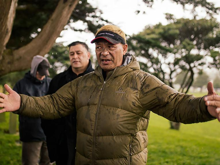 Ngāti Toa Rangatira historian Hohepa Potini leads a historical tour, 2016. Photograph by Amanda Rogers. Te Papa