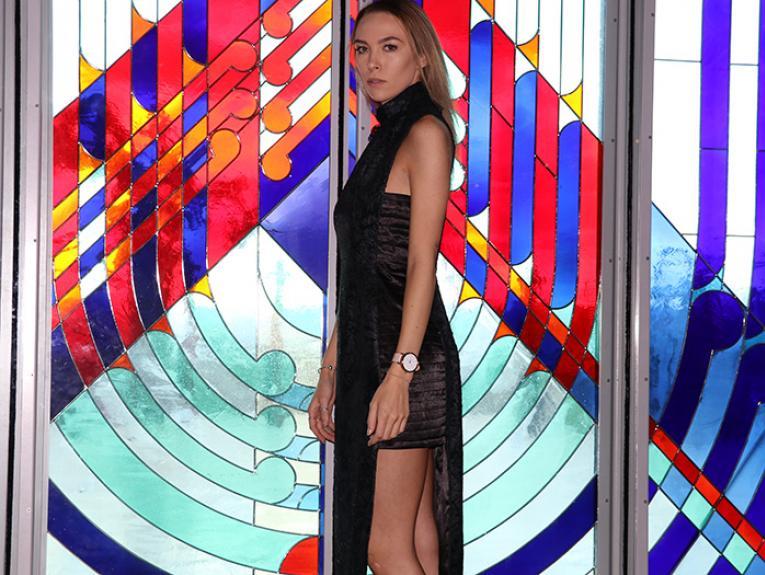 A model posing in her dress
