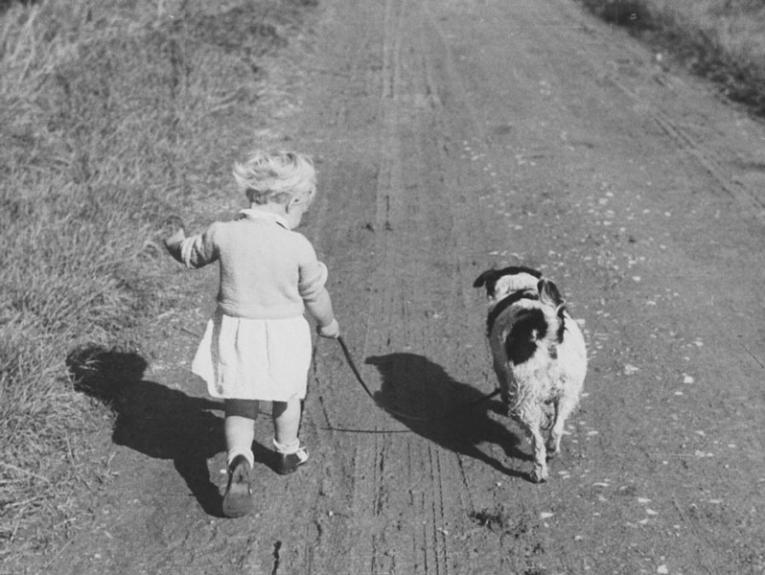 A little girl walks down a dirt road with a dog by her side