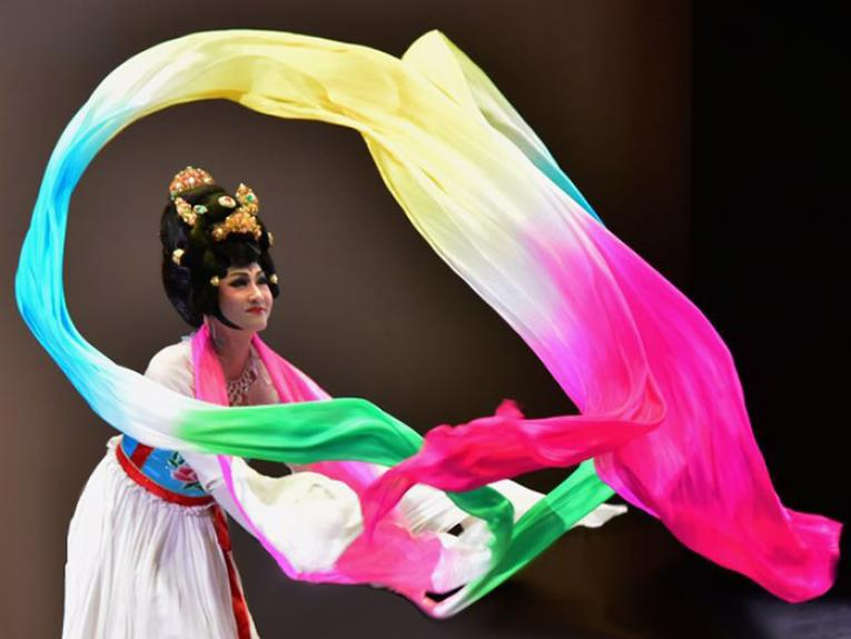 Lady performs a Chinese Ribbon Dance