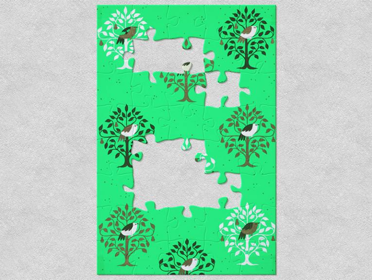 Illustration of birds in pear trees on green paper