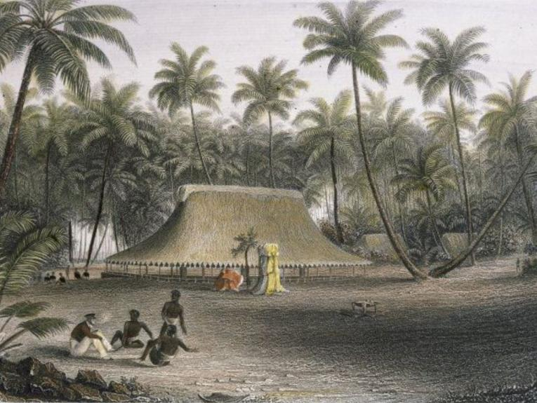 An illustration of men sat on the, palms and a hut in the background