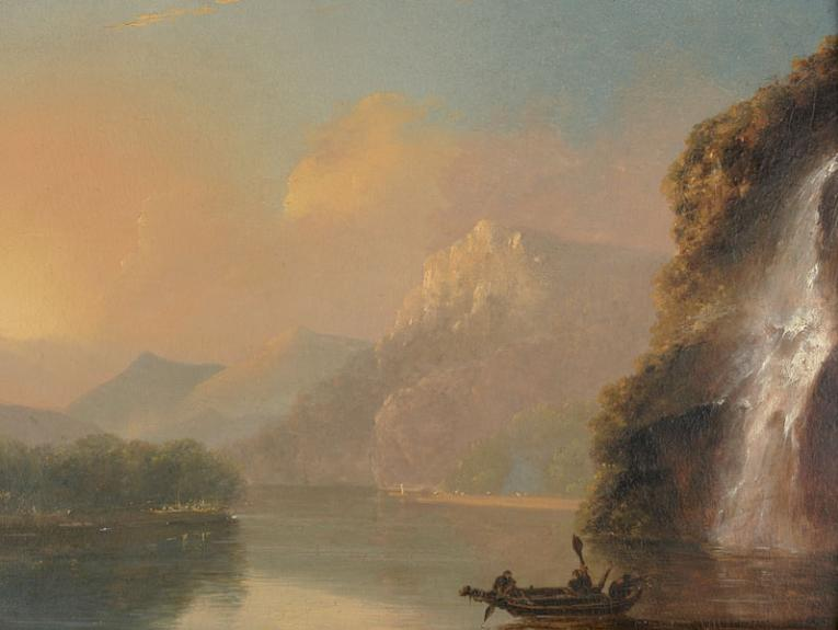 Painting of a small boat on the water with snow-capped mountains in the background