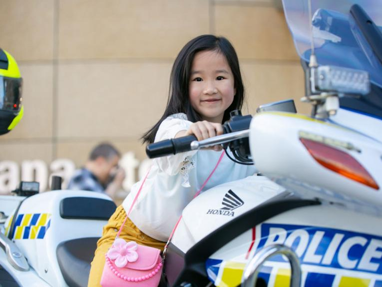 girl on a police bike
