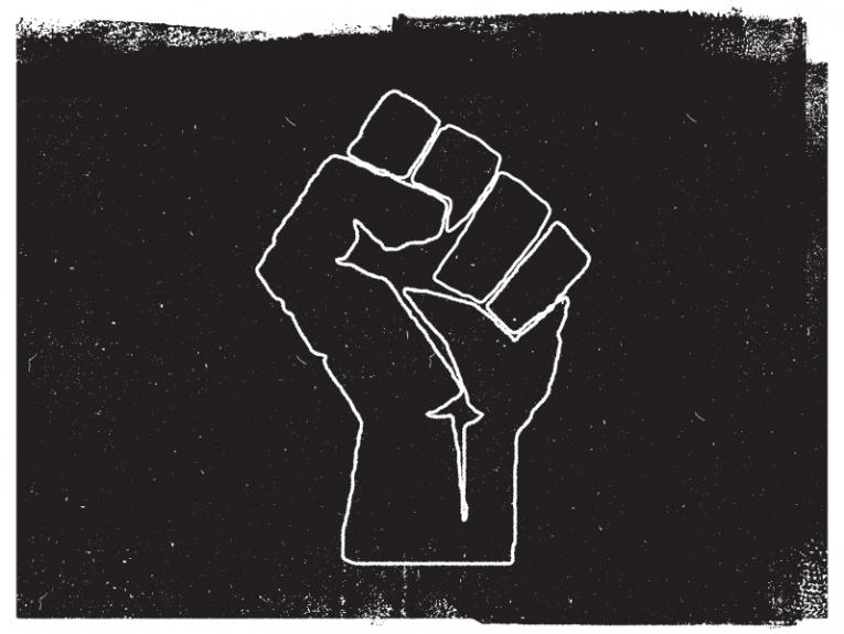 Black and white graphical representation of a fist