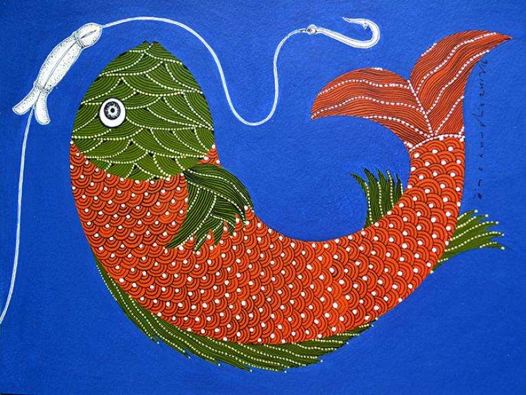 Gond art image fish