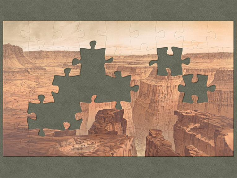 A painting of a broad panorama of the Grand Canyon