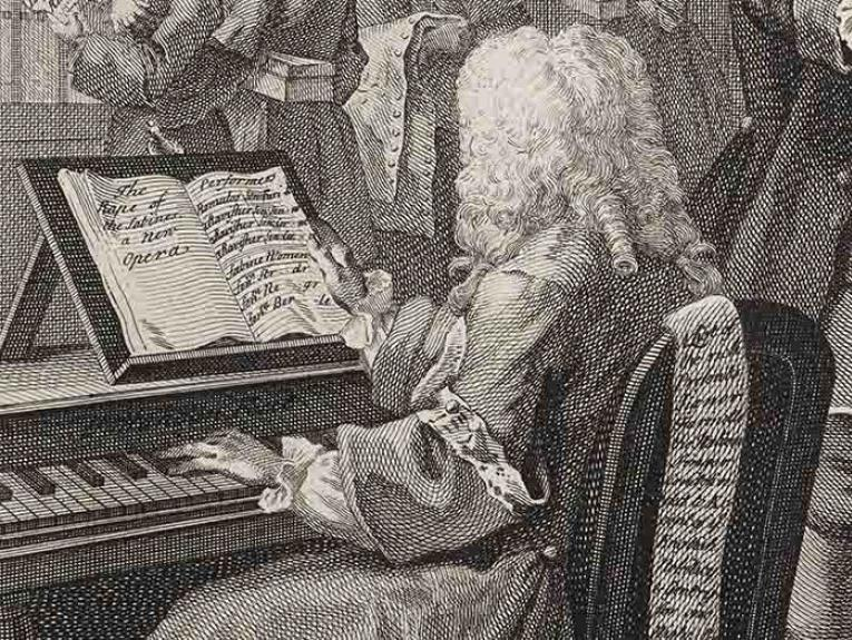 Detail from an etching by William Hogarth of a man playing the virginal, 1753.