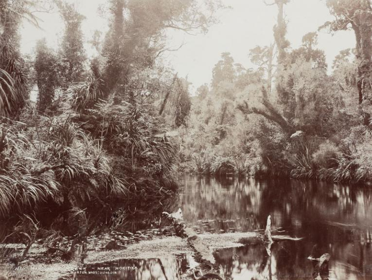 Black and white photo of a river in dense bush
