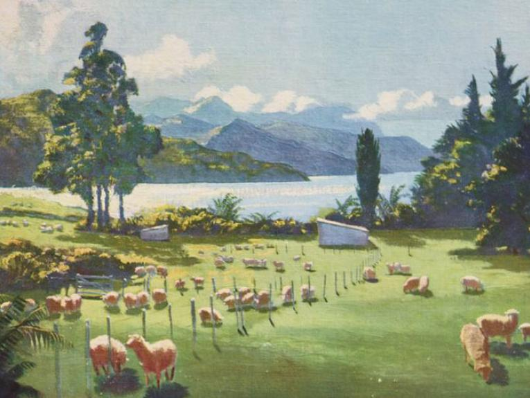 Watercolour of sheep in a field