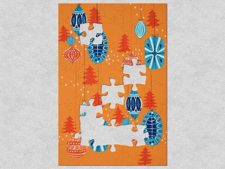 Illustration of Christmas ornaments – some blue and white, others orange and white – with an orange background and dark orange Christmas trees