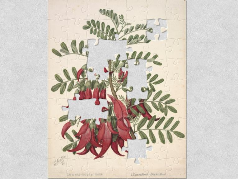 red flowers and green leaves painted on yellow paper
