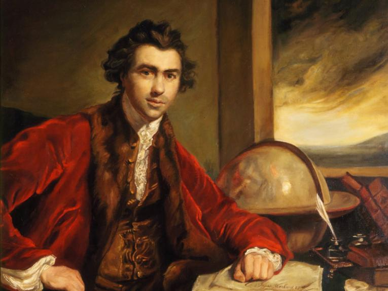 Portrait of Joseph Banks, seated in a red coat