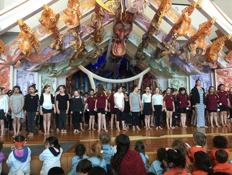 Kids on Te Marae performing kapa haka
