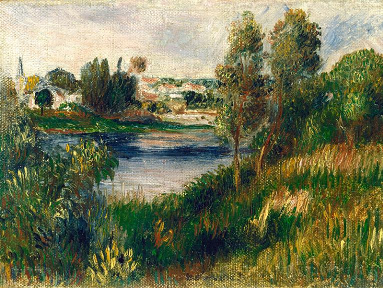 An oil painting of a pastoral scene and a small village next to a river
