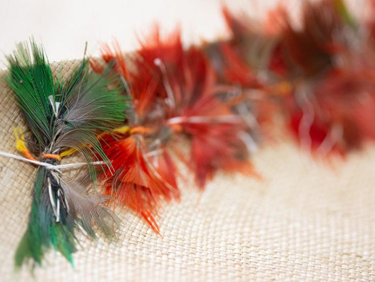 Closeup of colourful feathers on a mat