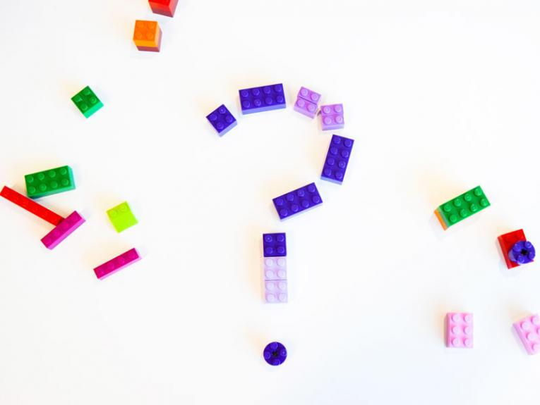 A question mark made from Lego bricks
