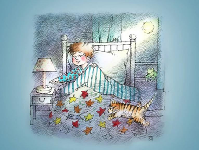 Illustration of a little boy in bed turning on a light