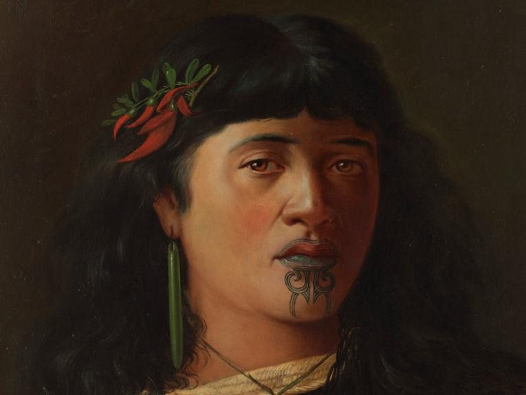 Louis John Steele, Portrait of a young Maori woman with moko, 1891, oil on canvas. Te Papa (1995-0015-1)