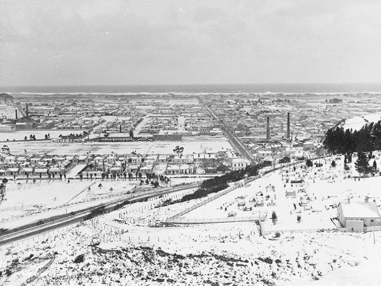 Overview of Dunedin under a heavy blanket of snow