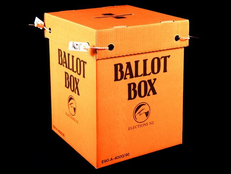 An orange cardboard box with Ballot Box written on the side