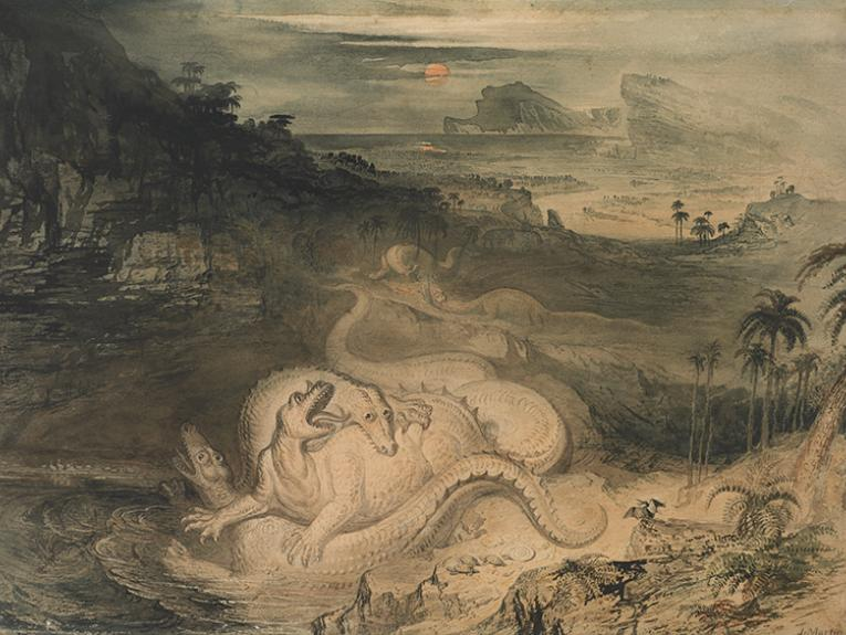 A classical watercolour with two dinosaur-like creatures fighting in the middle of a countryside with a sunset in the background