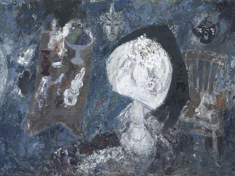 An abstract painting dominated by the colour blue. A white table with white flowers floats in the middle of the frame, flanked on the left by an austere brown chair and on the right by a large table with a bowl of fruit and various other things on it