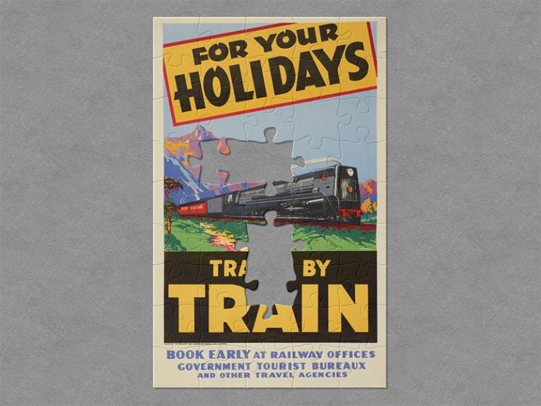 Illustrated tourism poster featuring a train in the country with mountains in the background. Text on the poster reads 'For your holidays travel by train'