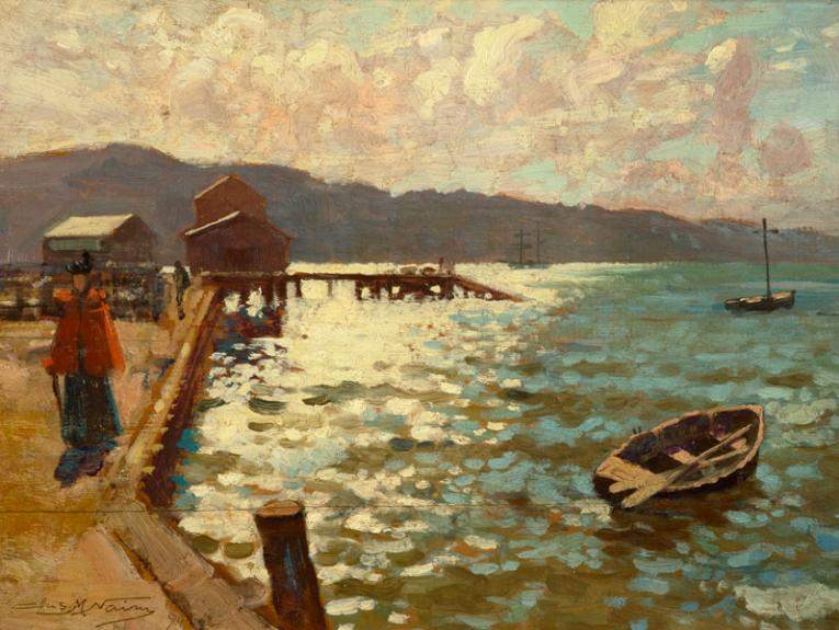 Oil painting of Wellington harbour