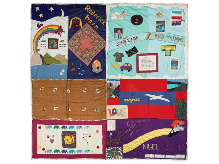 Eight panels of a quilt comprising of various artistic responses to people