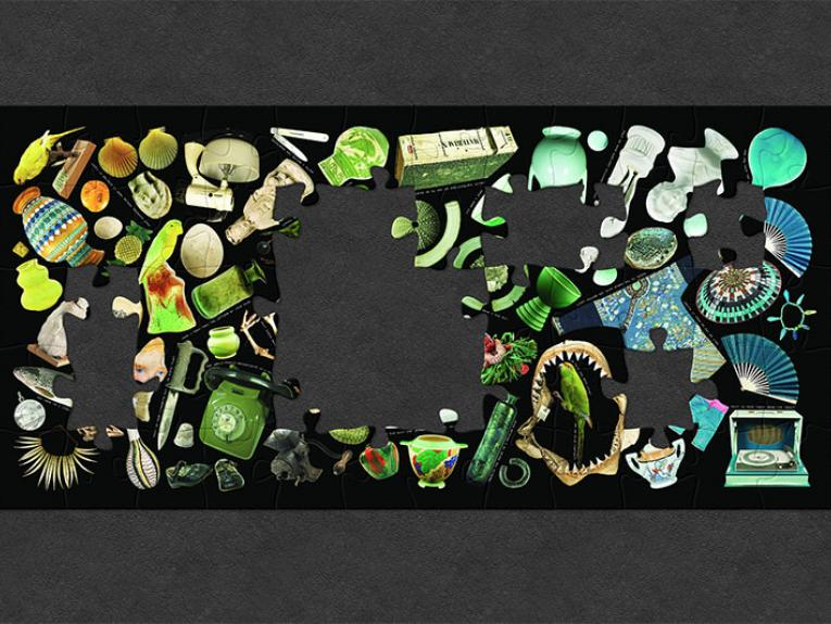 A collage comprising of objects from Te Papa's collections, organised by colour and shape