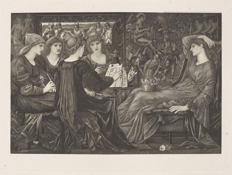 An etching of five women sitting down wearing flowing robes