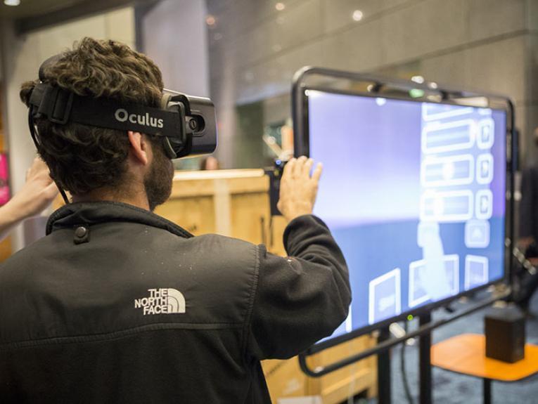 Man uses a virtual reality headset