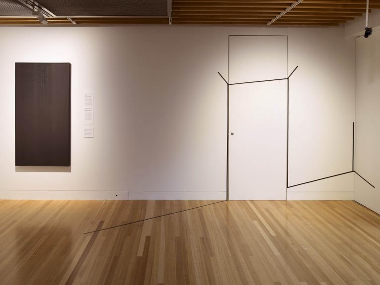 Install shot of the Māori minimalism gallery at Te Papa