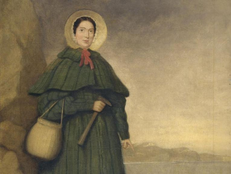 Oil painting of a lady holding a pickaxe