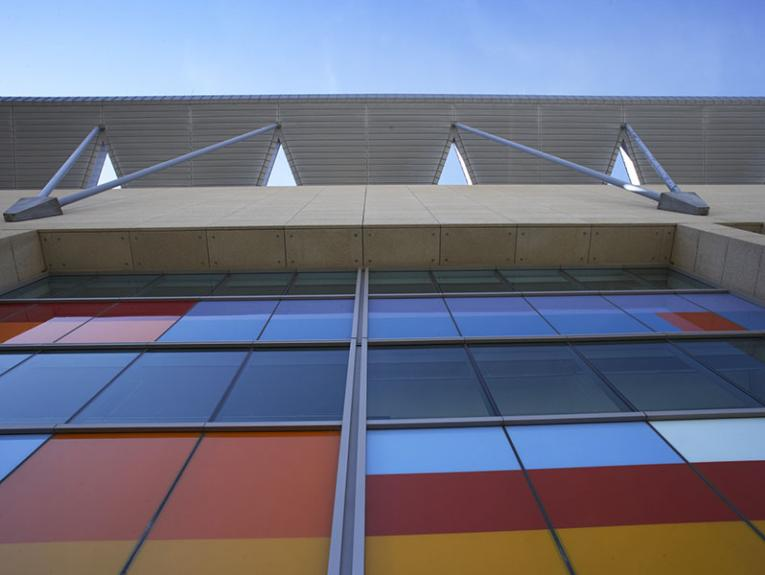Photo of external wall of Te Papa, showing the multi-coloured-block windows