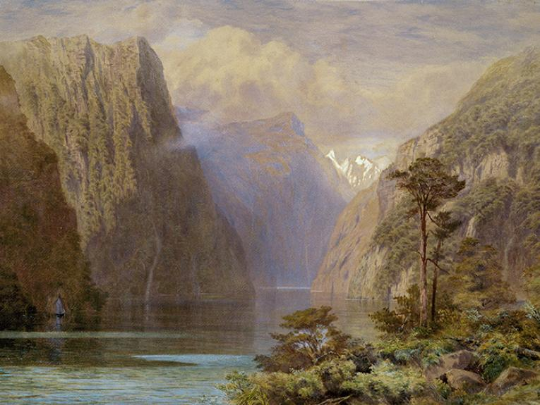 Watercolour painting of Milford Sound