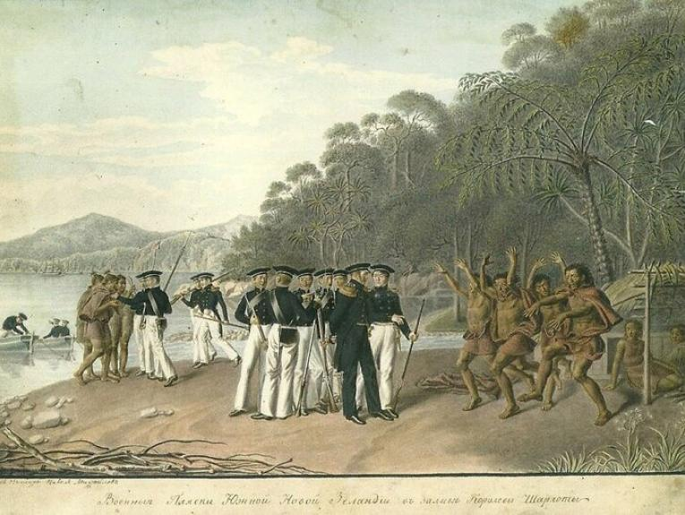 Painting of Russian sailors being greeted with a haka from Māori warriors