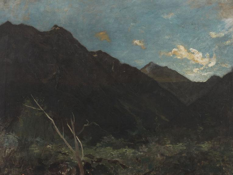 Mount Rolleston, circa 1893, Christchurch, by Petrus van der Velden. Gift of the New Zealand Academy of Fine Arts, 1936. Te Papa (1936-0012-116)