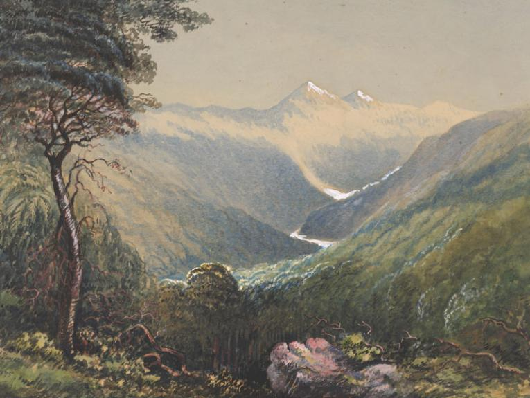 Painting of mountains with a glacierRolleston Glacier, New Zealand Alpes, 1895, New Zealand, by F M Tamar. Acquisition history unknown. Te Papa (1992-0035-1882)
