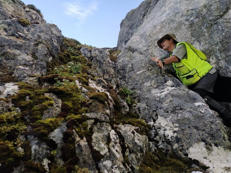 A man in high-vis gear leaning on a mountain rock